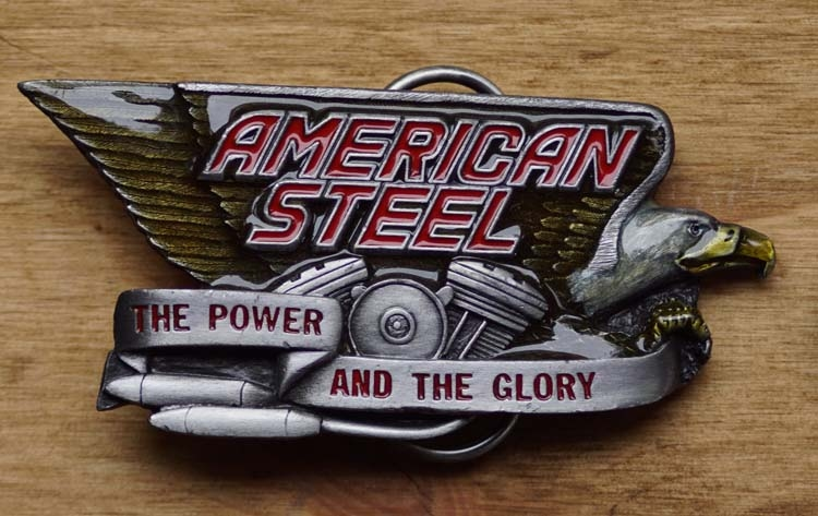 """Buckle / gesp  """" American steel  """"  The power and the glory"""