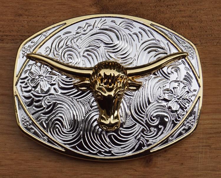 "Buckle / gesp  "" Longhorn ""   Goud- / zilverkleurig"