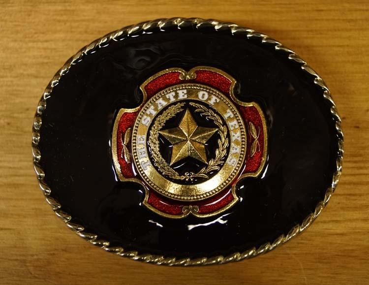 "Buckle "" The state of Texas ""  zwarte achtergrond"