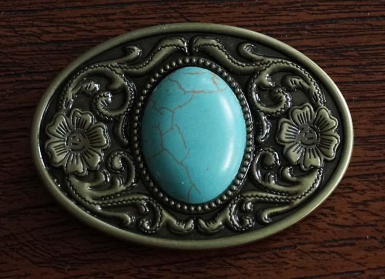 """Buckle """" Turquoise steen """"  koper kleurig"""