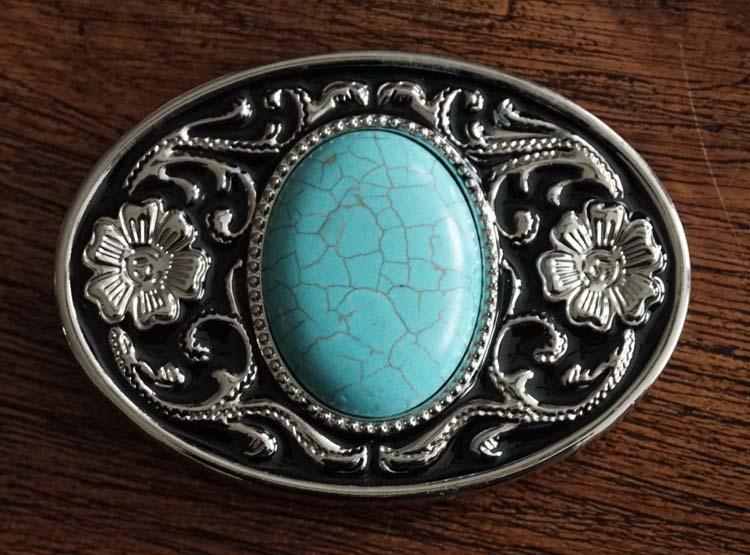 """Buckle """" Turquoise steen """"  zwart / zilverkleurig"""