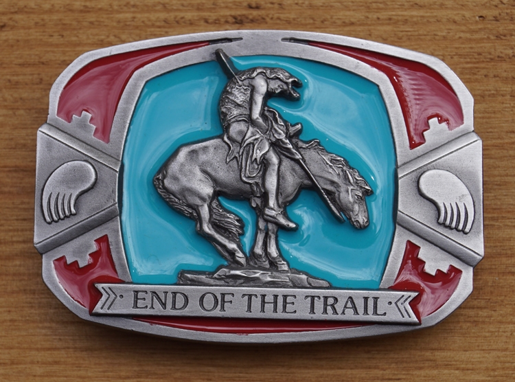 "Buckle/ gesp "" End of the trail ""  Indiaan"