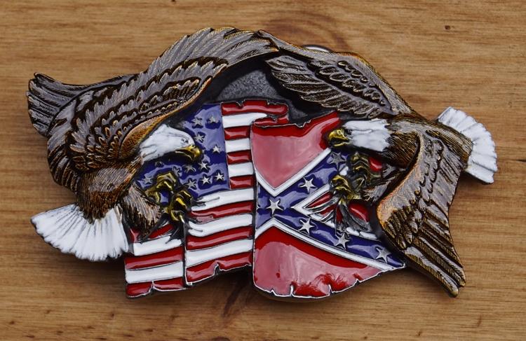 """Buckle """"Rebel vlag / Americaanse vlag adelaars """""""
