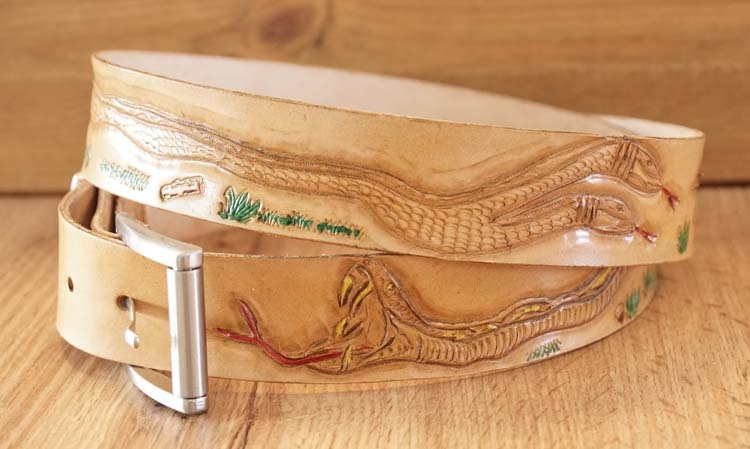 "Buckle riem "" Slangen  ""  tan"