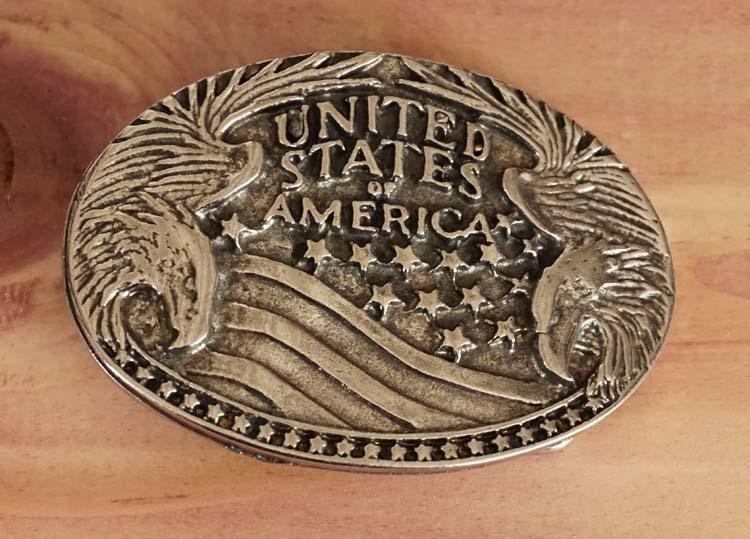 "Buckle riem met buckle  "" States of America ""  zwart"