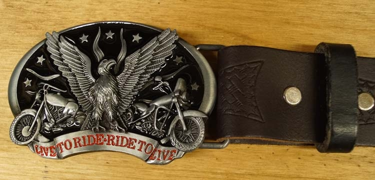 "Hoedband  "" Live to ride, ride to live   Adelaar  "" bruin"