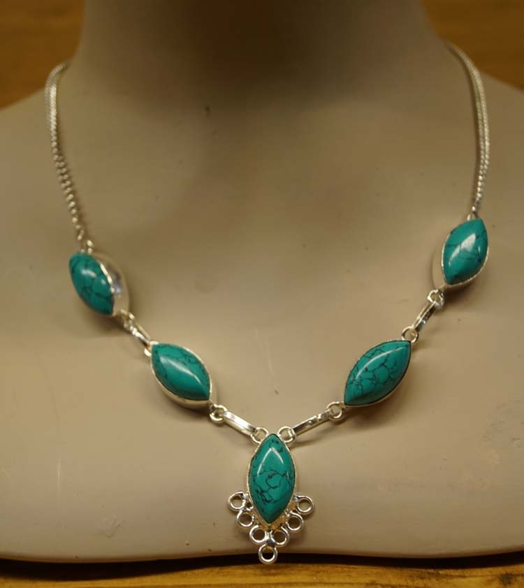 """Ketting druppels  """" Turquoise / zilver """""""