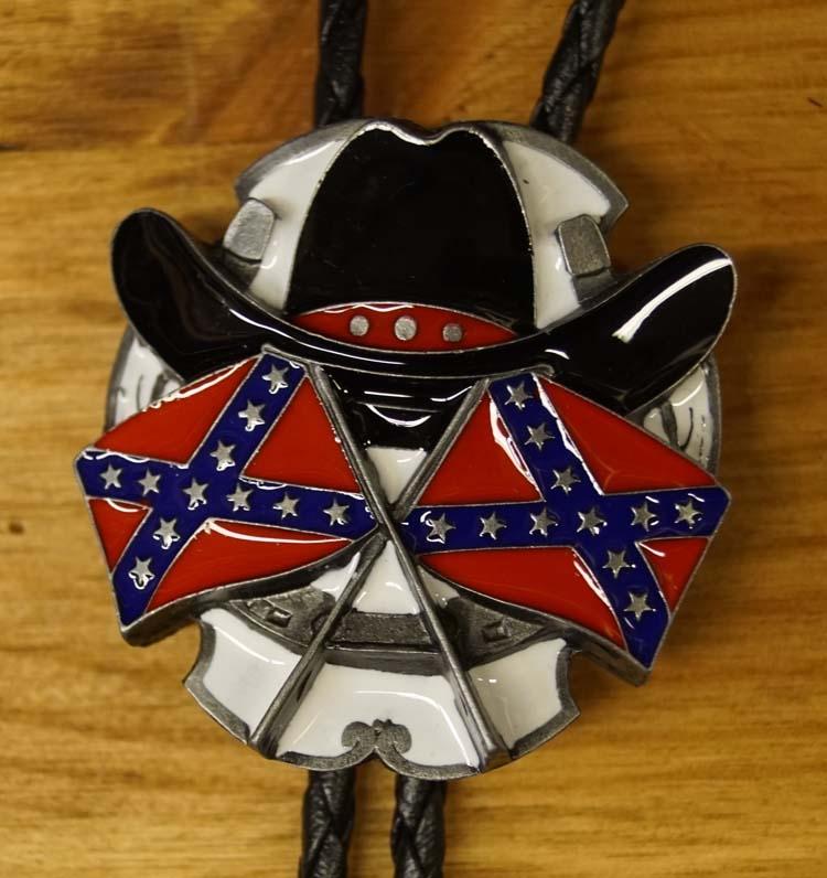 "Large Bolo tie  "" Cowboyhoed met 2 rebelvlaggen """