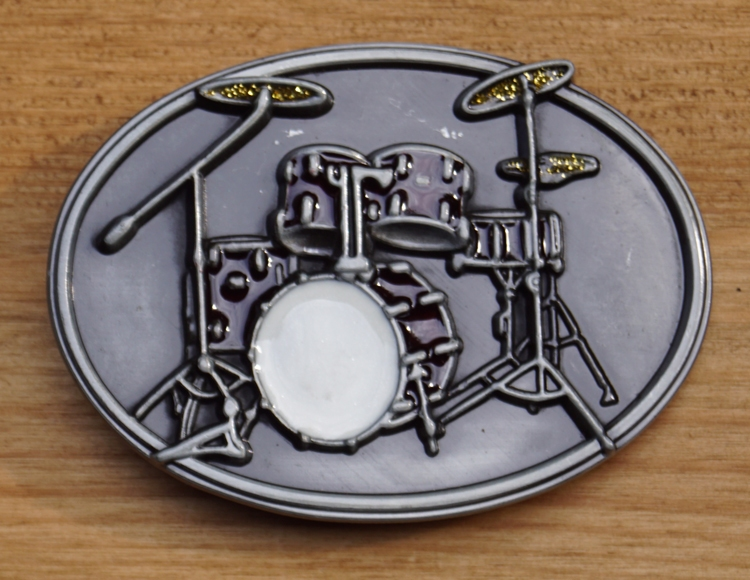 "Muziek gesp  "" Drumstel  ""  Rood/wit  UITVERKOCHT"