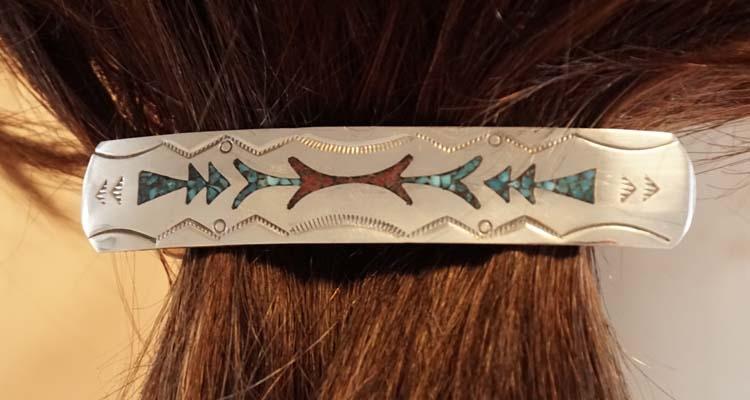 """Sterling zilveren haarclip """" Abstracte indianen motieven """""""
