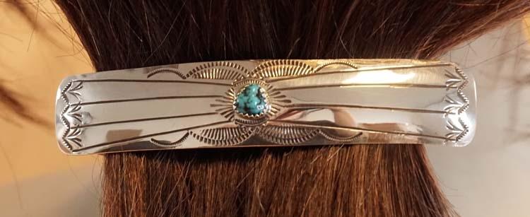 """Sterling zilveren haarclip """" Siermotief met turquoise steen"""