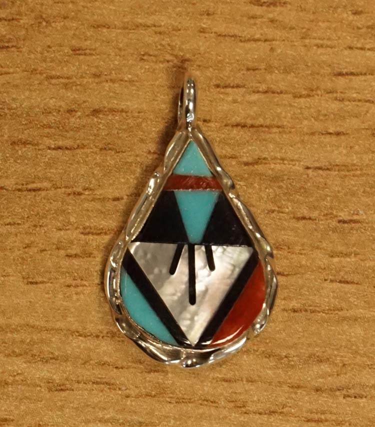 """Sterling zilveren hanger """" Druppel in indiaanse kleuren """""""