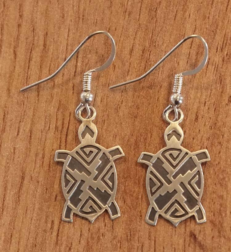 """Sterling zilveren indiaanse oorbellen """" Schildpad """""""