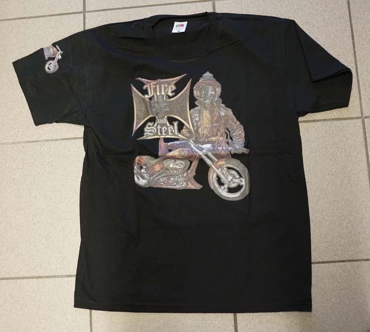 """T-shirt """" Fire and steel """"  Zwart"""