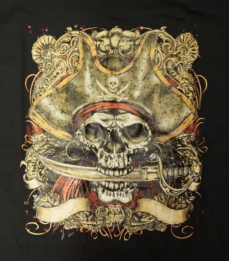 """T-shirt """" Pirate skull """"  Zwart"""