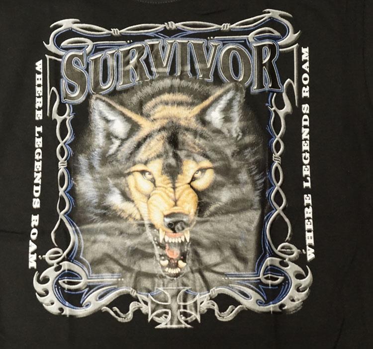 """T-shirt """" Survivor wolf """" Zwart"""