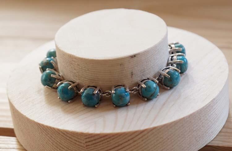 """Zilveren armband  """" 11 Turquoise stenen in zilver """""""
