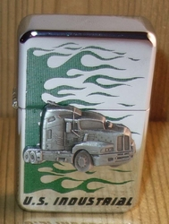 """Aansteker   """" Vrachtwagen U.S. Industrial """"   Zilverkleurig"""