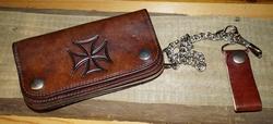 """Gothic portemonnee   """" Maltezer kruis """"   Donker bruin"""