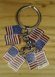 "Sleutelhanger  ""  4 x Americaanse vlag """