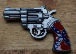 """Belt buckle  """" Revolver met rebelvlag """""""