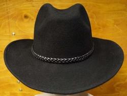 "Cowboyhoed  "" Gevlochten hoedband ""  Zwart"