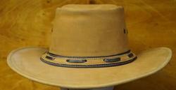 "Leren hoed  "" Hoedband  bruin / zwart ""   Bruin"