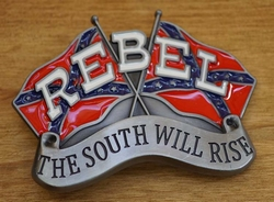 """Buckle / gesp  """" Rebel, The south will rise again """""""