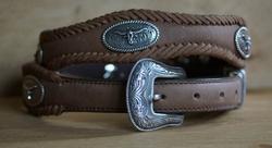 """Sterling zilver western riem """" Longhorn """"   Beige"""