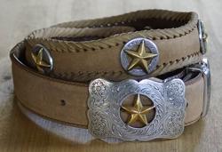 "Sterling zilver western leren riem "" Gold star ""   Beige"