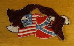 """Strijkapplicatie  """" Adelaar + Rebel en Amerikaans vlag """""""