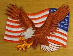 """Strijkapplicatie  """" Adelaar +  Amerikaanse vlag """"  Links"""