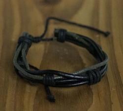 "Leren armband  "" Zwart """