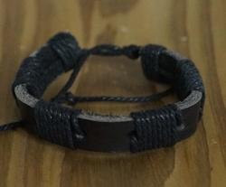 """Leren armband  """"  Donker bruin / zwart  """""""