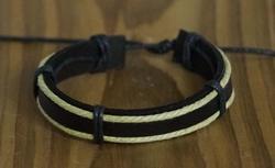 """Leren armband  """"  Zwart / creme """""""