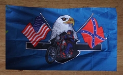 "Gevelvlag  "" Motorrijder met adelaar, rebel en USA vlag """