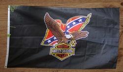 "Gevelvlag "" Harley Davidson, adelaar met rebelvlag """