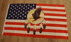 """Gevelvlag """" Amerikaanse vlag met dreamcather en adelaar """""""