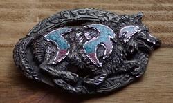"""Western gesp  """" Wolf """"  Zilver / blauw / rood"""