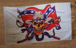 """Witte vlag  """" Rebelvlag, skelet cowboy hoed, slang """""""