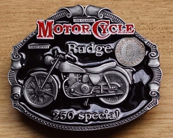 "Motor cycle buckle  "" Rudge 250 special """