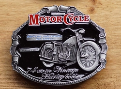 "Motor cycle buckle  "" 74 cu in Vintage Harley Bobber """