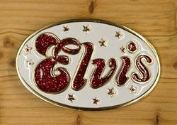 """Elvis gesp  """" Elvis """"  Wit / rood glitter"""