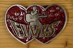 """Elvis gesp  """" Elvis """"  Hartvorming   Rood / goud glitter"""