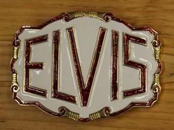 """Elvis gesp  """" Elvis """"  Wit / goudkleurig / rood glitter"""