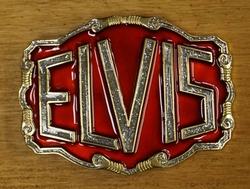 """Elvis gesp  """" Elvis """"  Rood / zilver glitter"""