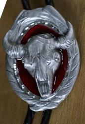 """Bolo tie  """"  Buffalo kop """"   Rood / zilver kleurig"""