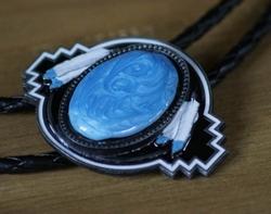 """Bolo tie  """"  Indiaanse decoratie blauw steen """""""