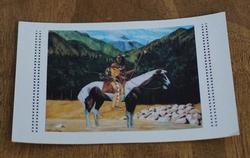 """Ansicht kaart  """" Indiaan op paard in de rivier """""""