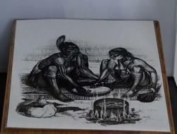"""Poster  """" Indianen eten aan het bereiden """""""